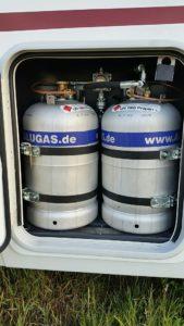 Unsere Alugas-Tankflaschen im Gaskasten